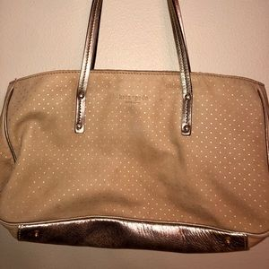 Vintage Kate Spade nude gold polka-dot handbag